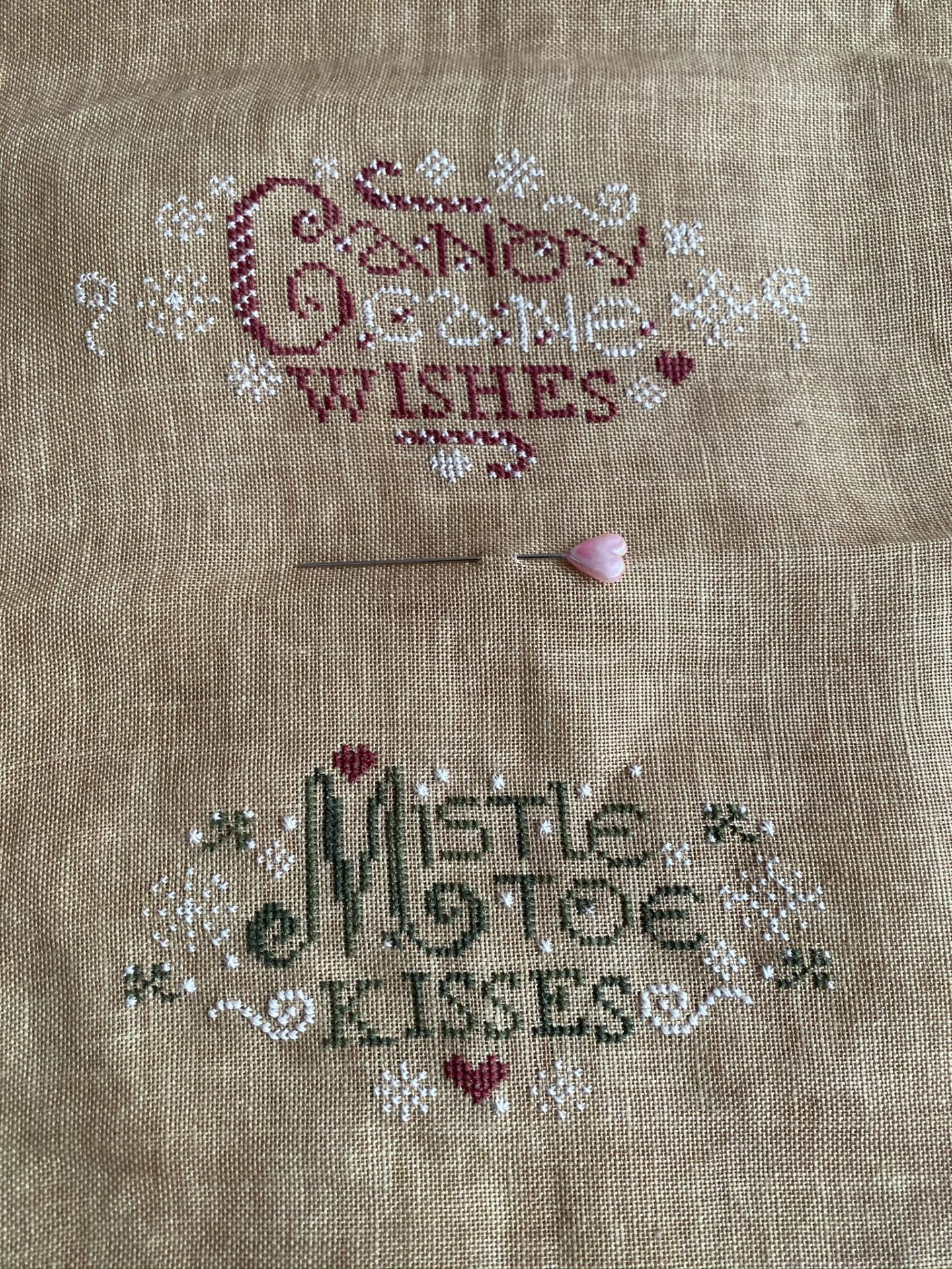 Stitching completed of Erica Michaels berry designs Mistletoe Kisses